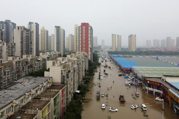 Inundación en la ciudad de Zhengzhou (China), el pasado 23 de julio.