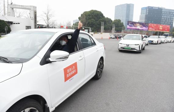 Conductores de Didi en Shanghái.