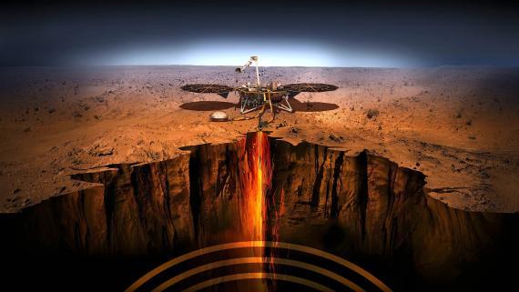 Ilustración de un artista del módulo de aterrizaje InSight en Marte.