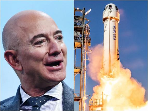 Jeff Bezos (left) is set to launch aboard the New Shepard rocket (right) on July 20.