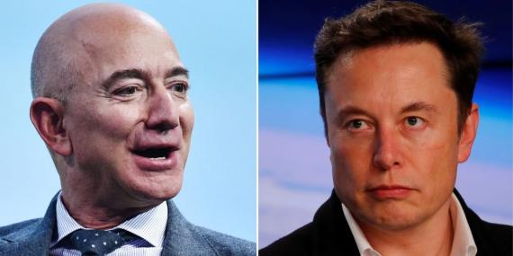 Jeff Bezos, fundador de Blue Origin, y Elon Musk, fundador de SpaceX.