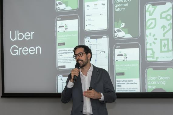 Juan Galiardo, director general de Uber España, en un acto este martes