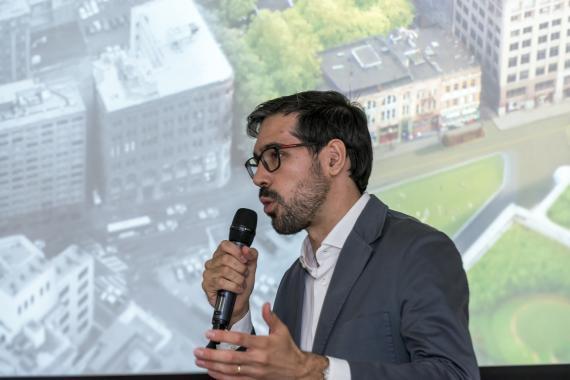 Juan Galiardo, director de Uber en España, durante un acto en Madrid