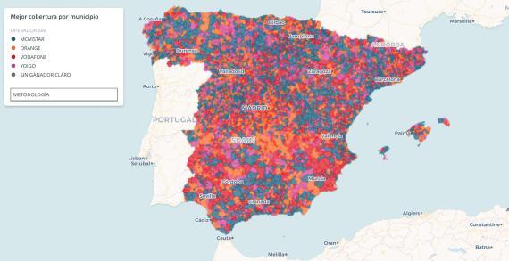 Mapa de la cobertura de Internet