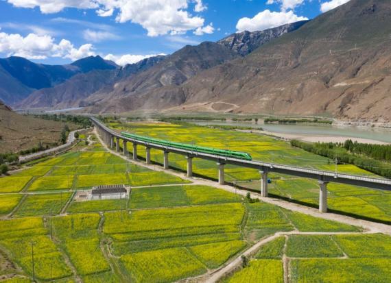 Un tren bala Fuxing recorre el tramo Lhasa-Nyingchi el 24 de junio de 2021 en Shannan, Región Autónoma del Tíbet de China.