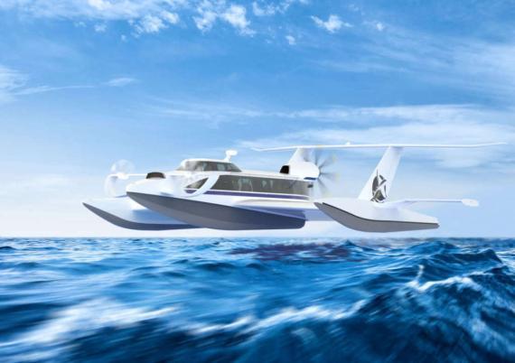 Simulación del barco-avión de RDC Aqualines.
