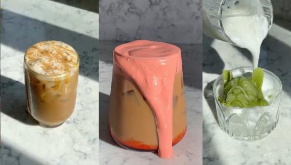 De izquierda a derecha: café de plátano, café de miel rosa y matcha helado con forma de perro.