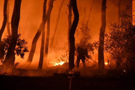 Un bombero trata de apagar las llamas de un incendio en Atenas, Grecia.