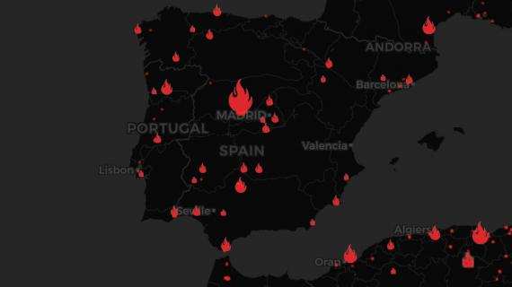 Mapa interactivo del fuego en España
