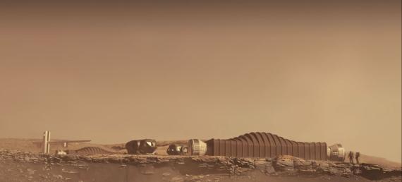 Representación de la base marciana sobre la que se hará una simulación de una colonización. NASA
