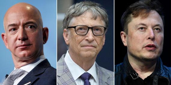 Jeff Bezos, de Amazon; Bill Gates, de Microsoft; y Elon Musk, de Tesla.