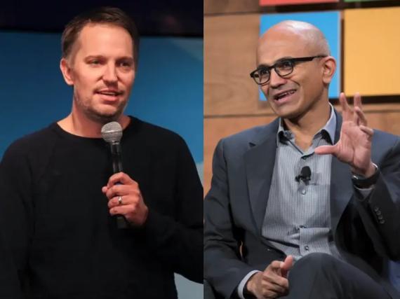 El CEO de LinkedIn, Ryan Roslansky (izquierda), y el CEO de Microsoft, Satya Nadella (derecha).