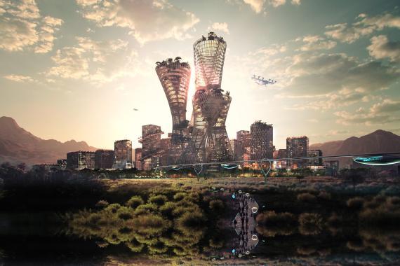 Diseño del 'skyline' de la ciudad sostenible de Telosa.