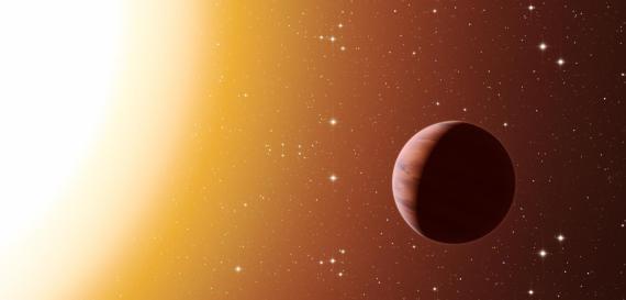 Ilustración de un exoplaneta más caliente que Júpiter mirando hacia su estrella.