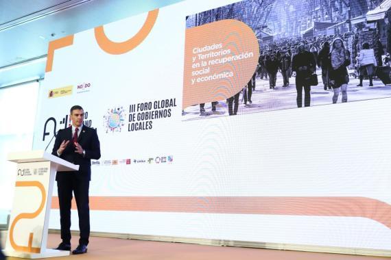 El presidente del Gobierno, Pedro Sánchez, en el I Foro Urbano de España.