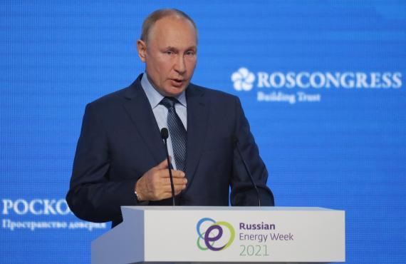 Vladimir Putin, durante una ponencia en Moscú.