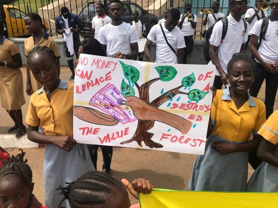 Una protesta en Camerún contra el cambio climático.