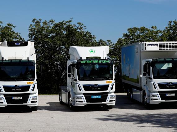 Tres modelos de camiones eléctricos del fabricante alemán Man Se.