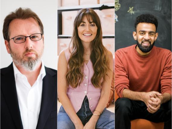 El CEO de Cazoo, Alex Chesterman, la fundadora de Peanut, Michelle Kennedy, y el fundador de Scoodle, Ismail Jeilani