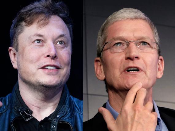 Elon Musk y Tim Cook