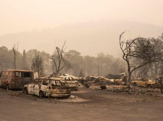 The remnants of a mobile home park that was destroyed by wildfire in Ashland, Oregon.