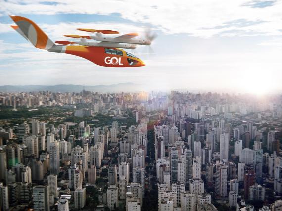 Imagen de un aerotaxi con los colores de la aerolínea brasileña Gol