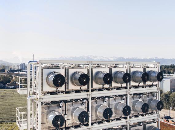 Succionadoras de carbono de Climeworks en Zúrich.