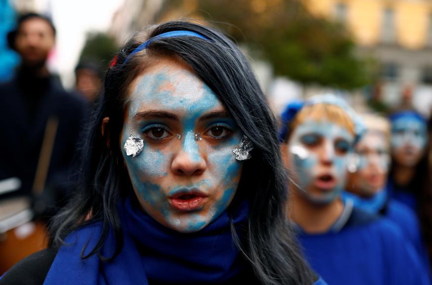 Protestas por el clima durante la COP25