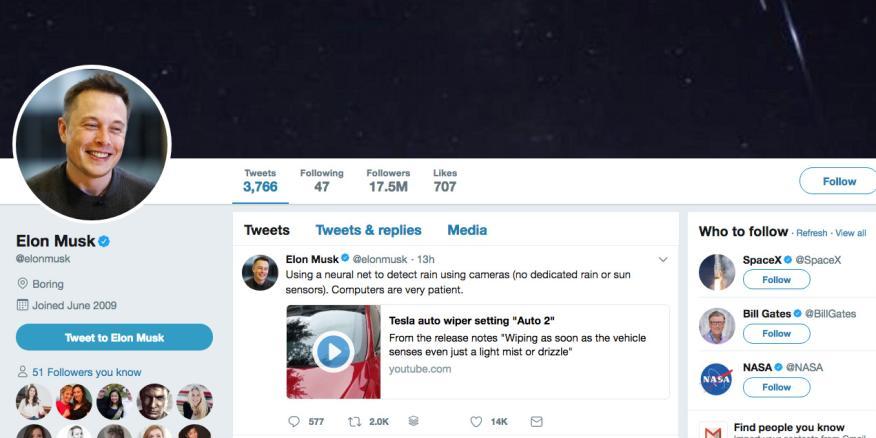Las seis personas a las que sigue Elon Musk en Twitter