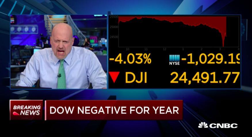 El analista de la CNBC Jim Cramer cerca del final del cierre del mercado el pasado 5 de febrero de 2018.