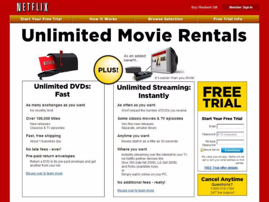 Este era el aspecto de Netflix en 2008.