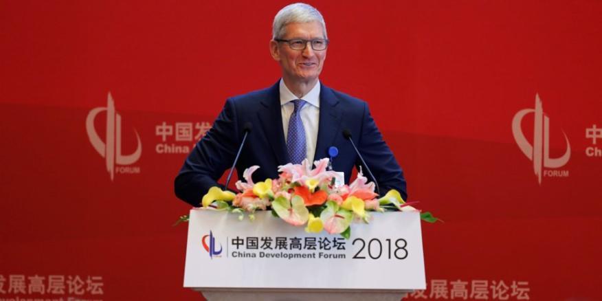 Tim Cook, durante una conferencia en China