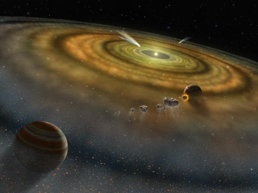 Un arte de cómo sería un sistema planetario recién formado.