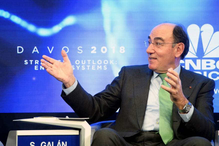 El presidente de Iberdrola, Ignacio Sánchez Galán, en el Foro de Davos.