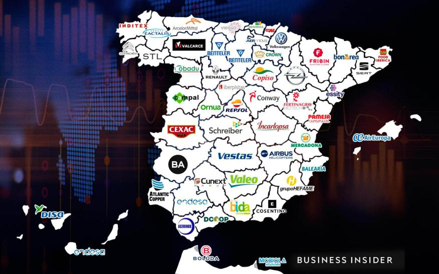 Mapa de provincias con las empresas más potentes por cada provincia