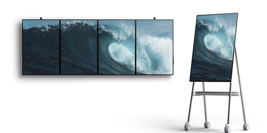 La nueva Surface Hub 2 de Microsoft será capaz de cambiar su orientación de horizontal a vertical. Y se podrán combinar varios dispositivos en una única pantalla.
