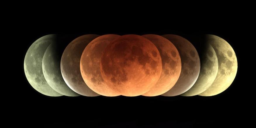 Imágenes de un eclipse total lunar