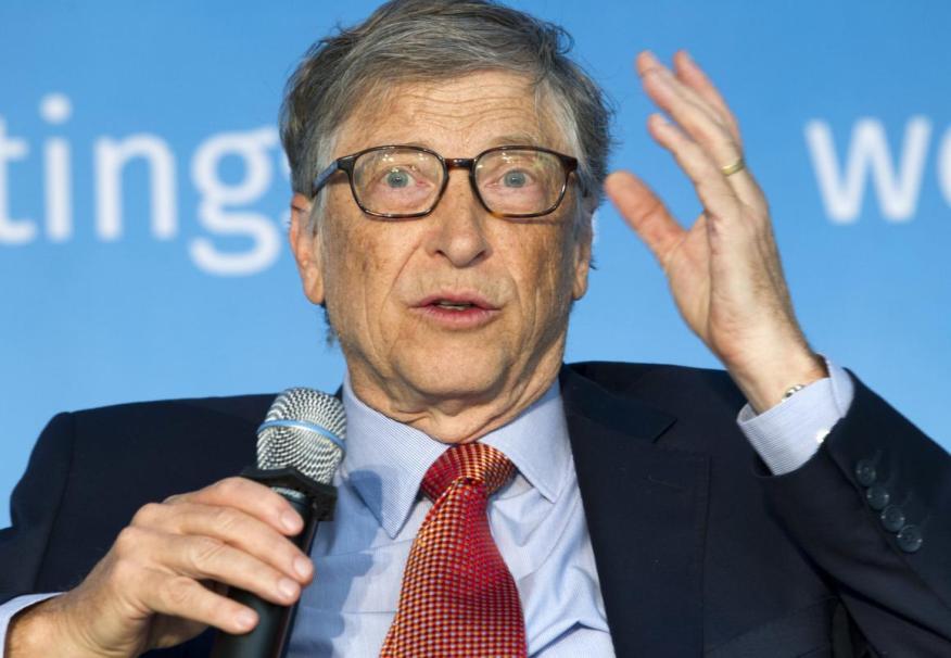 El copresidente de la Fundación Bill y Melinda Gates, Bill Gates, habla en el jurado Construyendo el capital humano: un proyecto para el mundo, durante las reuniones de primavera del Banco Mundial / FMI, en Washington, el sábado 21 de abril de 2018.