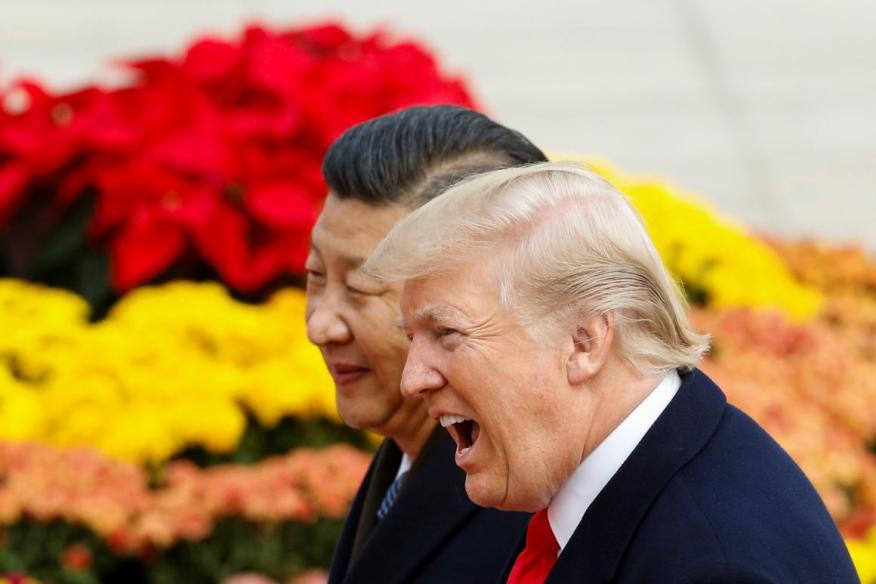El presidente chino, Xi Jinping, recibe a su homólogo de EE.UU. Donald Trump, en Pekín