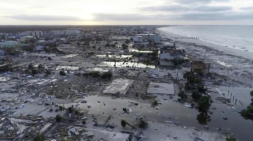 Daños del huracán Michael en México Beach, Florida, en octubre de 2018.