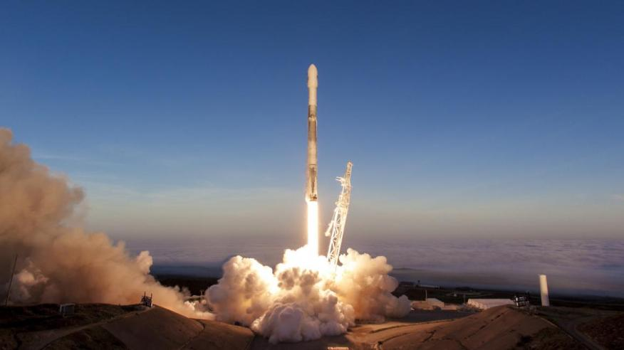 A Falcon 9 rocket built by SpaceX.