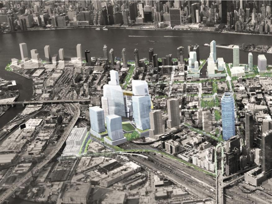 New York City's rendering of HQ2 in Long Island City, Queens.