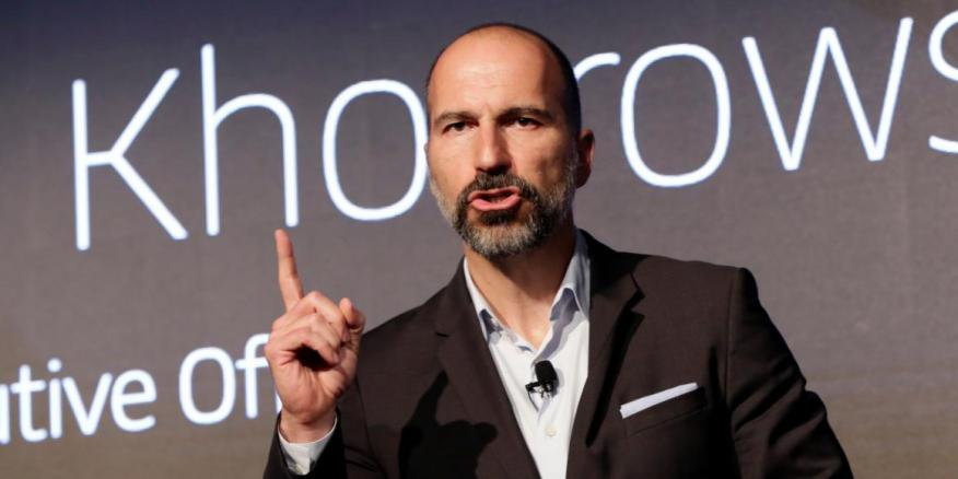 Uber CEO Dara Khosrowshahi speaks during the company's unveiling of the new features in New York, Wednesday, Sept. 5, 2018.