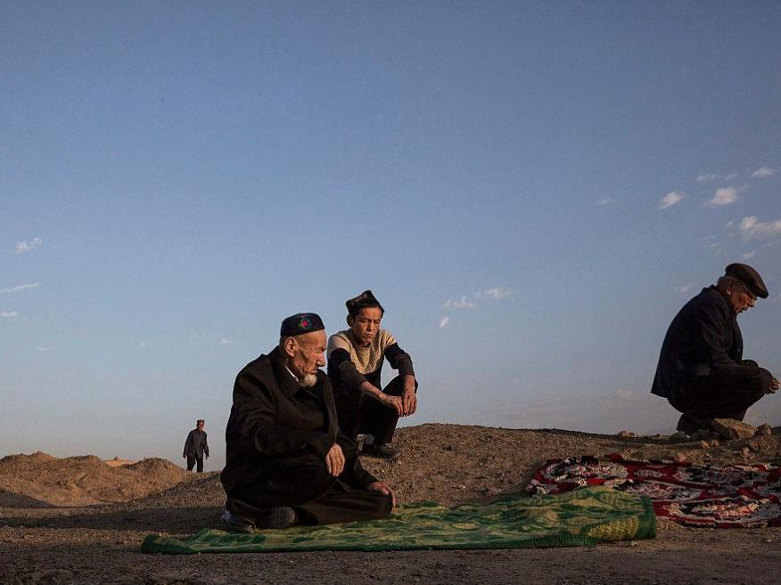 Uighur men in the in the far western Xinjiang province, China.