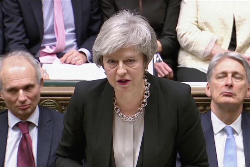 Theresa May, durante el debate previo a la segunda votación sobre el Brexit.