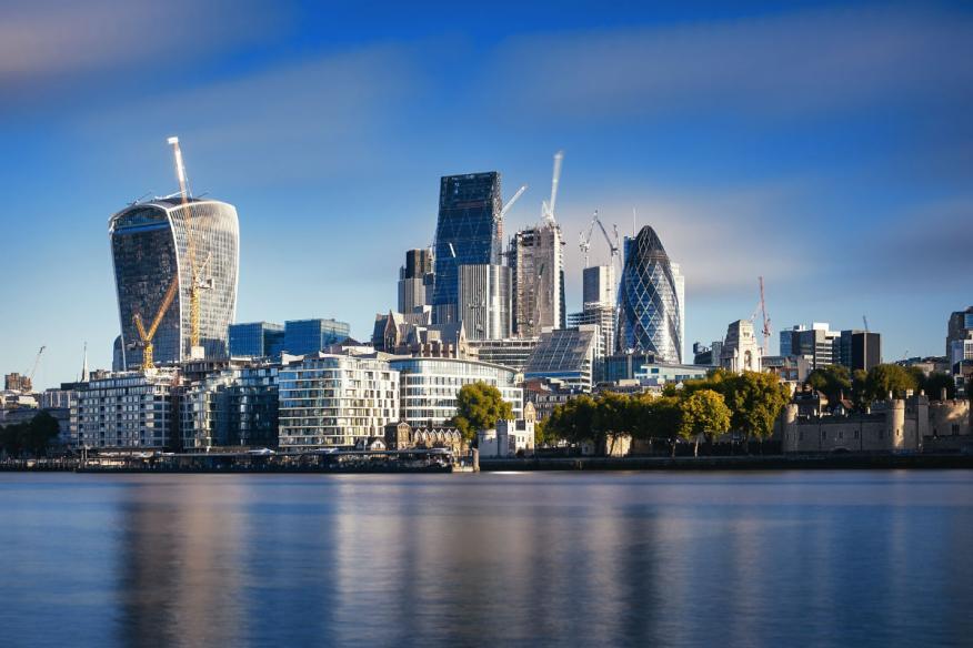 Vista de la City financiera de Londres