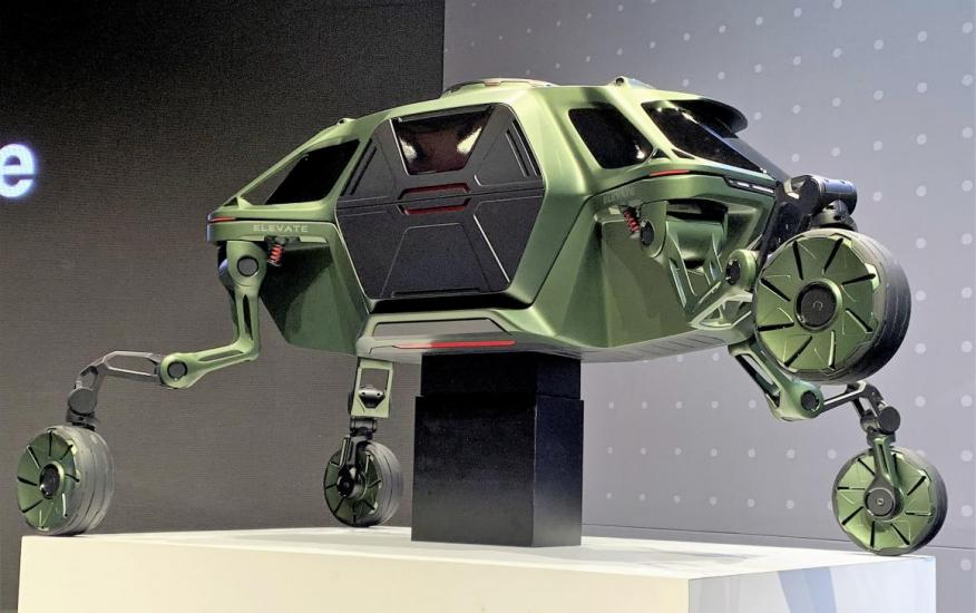 Hyundai showed off a concept car with foldable legs that allow it to navigate difficult terrain.
