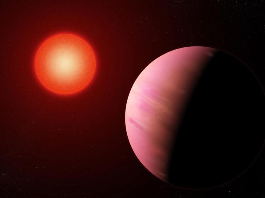 El recién descubierto planeta K2-288Bb, ilustrado aquí, es ligeramente más pequeño que Neptuno.