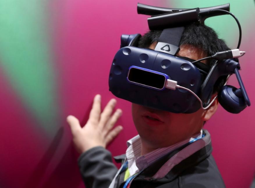 Unas gafas de realidad virtual en el Mobile World Congress.