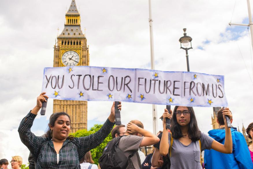 Manifestantes en favor de que Reino Unido siga en la Unión Europea.